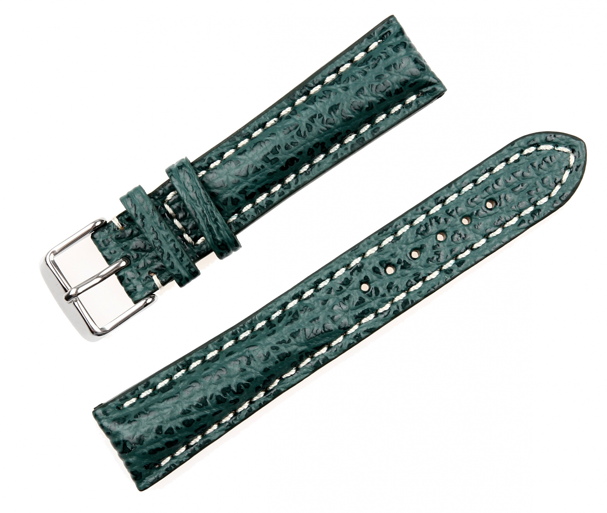 Pasek do zegarka Rekin biała nić - zielony
