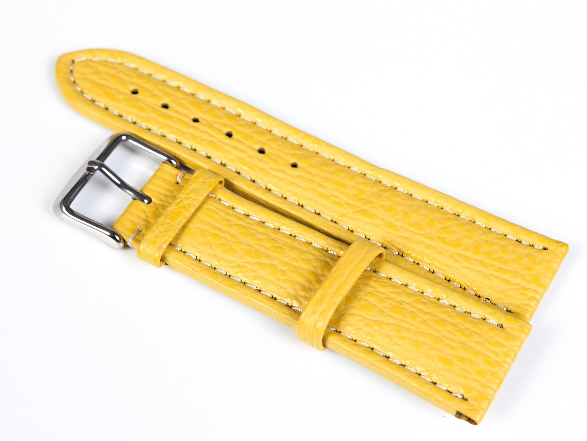 Pasek do zegarka Rekin biała nić - żółty