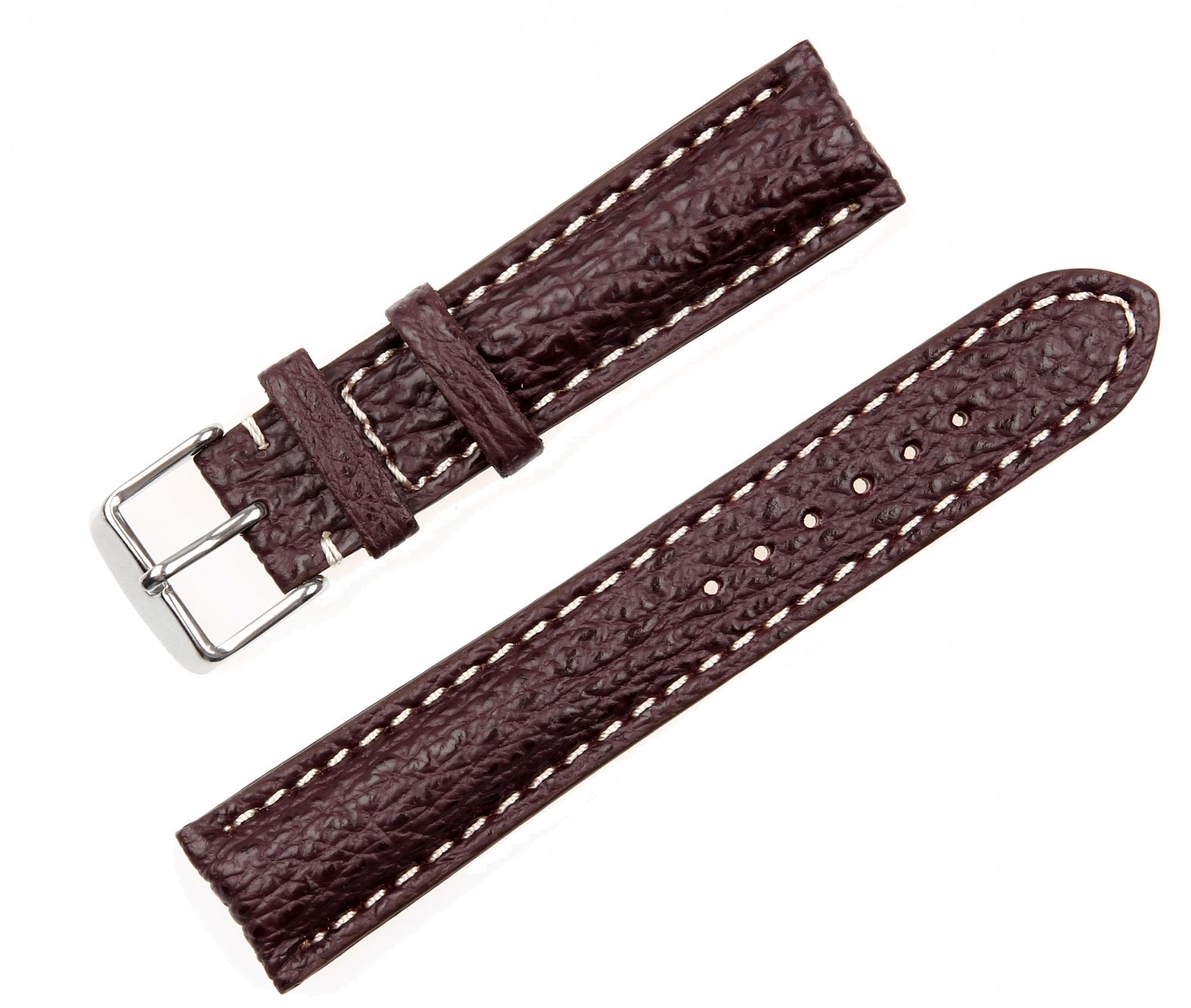Pasek do zegarka Rekin biała nić - c. bordo